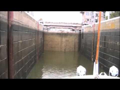 Passing Through a Lock on The Dnieper River, Ukraine