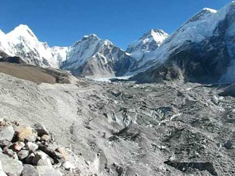 Panorama of Khumbu Glacier, Khumbu Icefall, Pumori and Kala Patthar