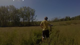 Walking through high grass with cerebral palsy
