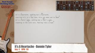 It's A Heartache - Bonnie Tyler Guitar (LOW STRUM) Backing Track with chords and lyrics