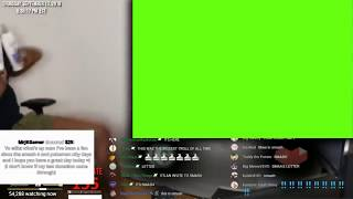 etika reacting and jumping around to a green screen