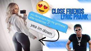 LIL BABY - CLOSE FRIENDS LYRIC PRANK ON CRUSH **I THINK SHE LIKES ME**