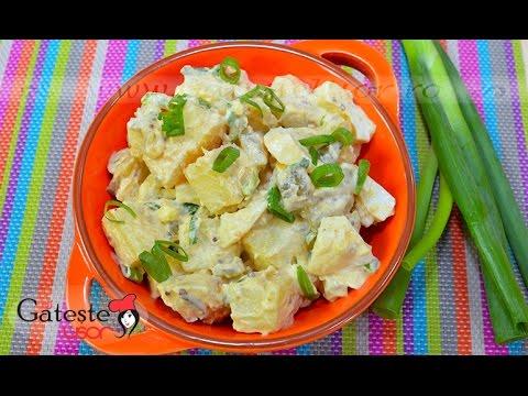Reteta de Salata de Cartofi cu Castraveti Murati si Ceapa Verde