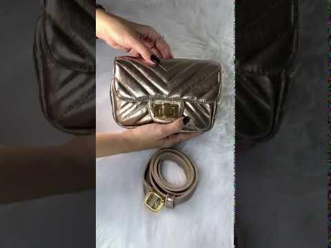 VERSALHES PP Bolsa pochete metalizada dourada de couro legítimo com corrente metais dourados