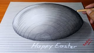Happy Easter!! Drawing Half Easter Egg Trick Art On Line Paper - 3D Optical Illusion