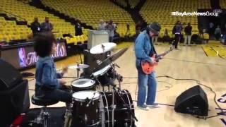 Guitarist Carlos Santana and wife Cindy Blackman Santana warm up #nbafinals