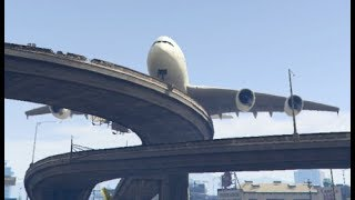 GTA 5- Big Airbus 'a380' Emergency Landing at Rounded Bridge