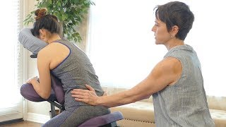 How to Relieve Low Back & Hip Pain with Chair Massage, Tutorial for Legs & Glutes | Jade Nelson width=