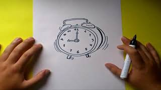 Como dibujar un despertador paso a paso | How to draw an alarm clock