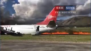 Avião  pega fogo ao pousar no interior do Peru