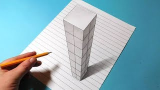 Drawing Trick Art 3D Skyscraper Building on Line Paper