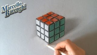 Drawing and coloring Rubiks Cube 3d illusion