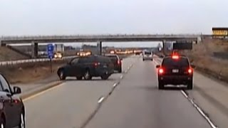 Woman Tailgating Car Too Closely Loses Control and Veers Off Highway