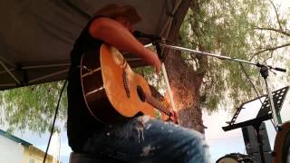 """Dan Grace """"one man band"""" preforming """"jeans on"""" by david dundas live at the Hay races 2014"""