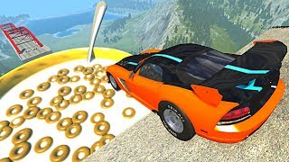 Beamng drive - Open Bridge Crashes over Giant Cereal bowl with Milk #7