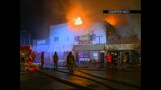 Raw: Blaze Damages Several Buildings In Iowa