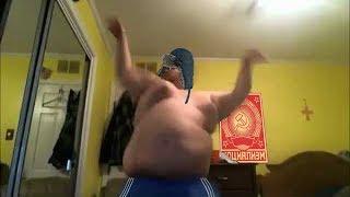 Russian fat dude danced to hardbass