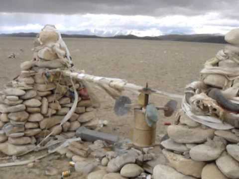 Prayer Wheels at a Mountain Pass in Tibet