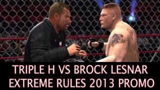 WWE Extreme Rules 2013 - Triple H vs Brock Lesnar Steel Cage Match Promo HD ( WWE 13 Simulation )