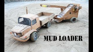 Wow! Mercedes zetros truck with mud loader|| how to make cardboard  Mercedes truck and mud loader