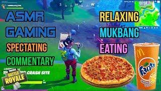 ASMR Gaming 🍕 Fortnite Mukbang Eating Sausage Pepperoni Pizza Commentary 먹방 🎮🎧 Relaxing 😴💤