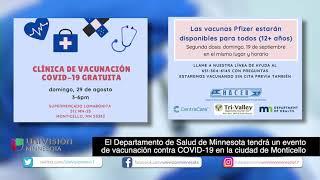 8-25 | MDH tendrá un evento de vacunación contra COVID-19 en la ciudad de Monticello