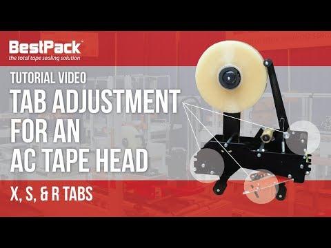 Ajuste de pestaña para un cabezal de cinta de AC