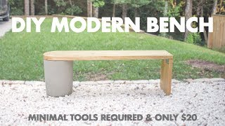 $20 DIY Modern Concrete And 2x12 Wood Bench- Very Easy To Make