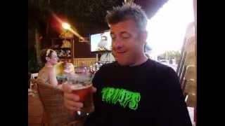 Phil Murray tasting his pint in menorca 2012