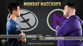 Evil Geniuses vs Midnight Esports | CWL Pro League 2019 | Division A | Week 8 | Day 1