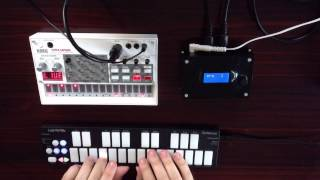Volca Sample as Wavetable Synth - with MIDIbro and Qunexus