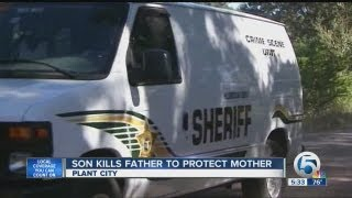 Son kills father to protect mother