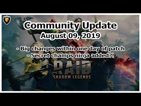 RAID Shadow Legends | Community Update | Aug 09, 2019 | Quick Balancing / Secret Champs?!