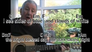 What A Wonderful World -  Louis Armstrong - easy chords guitar lesson - on-screen chords and lyrics