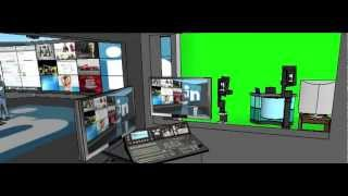 Green screen control room and video wall stage set