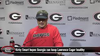 Georgia football coach Kirby Smart previews Auburn game, updates Lawrence Cager's status
