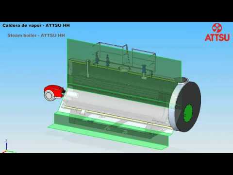 ATTSU   3D Caldera de vapor HH   Vista exterior y interior 3D   Calderas de vapor   Steam boilers   YouTube