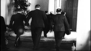 Chancellor Hitler and Foreign Minister Ribbentrop welcome Admiral Horthy to discu...HD Stock Footage