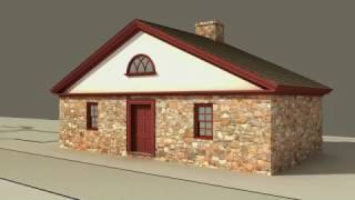 Animated 3D model of the Workmen's House/Textile Workshop at Monticello.