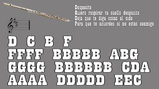 Despacito - Luis Fonsi ft. Daddy Yankee & Bieber - Flute {Notes}