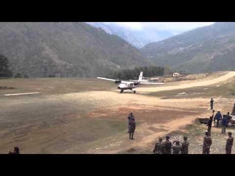 Plane taking off at Phaplu, Nepal