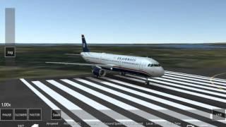 Infinite flight simulator : US airways smooth take off (with music) original video
