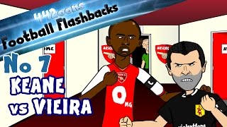 ROY KEANE vs PATRICK VIEIRA HIGHBURY TUNNEL! Football Flashback No7 (Parody funny cartoon)
