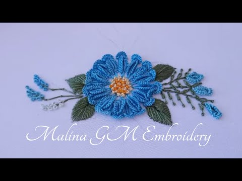 Dimensional Flower   Amazing Blue Daisy   Dimensional Embroidery   mix stitches