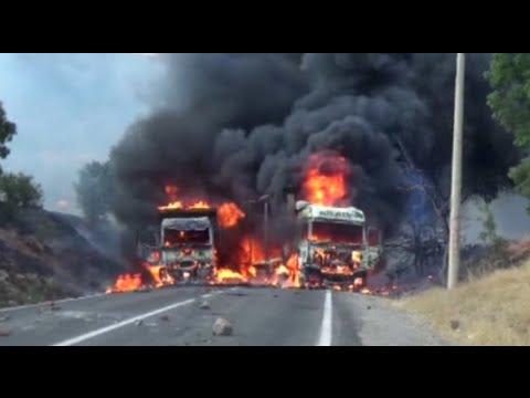 RAW: Trucks set ablaze by suspected Kurdish PKK militants, gunfire heard