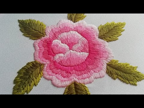 Hand Embroidery : Shadow Embroidery Rosa | Satin Stitch