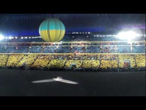 Donbass Arena Ukrainian Flag.MOV