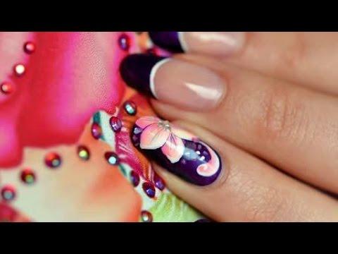 Nail art one stroke russian flowers
