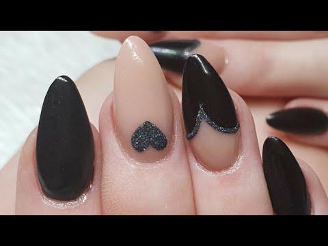 Black Heart Acrylic Nails. Geometric and Gel Art Design