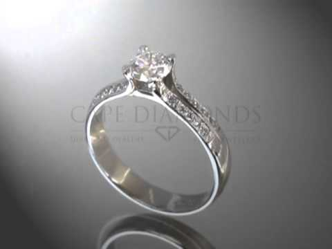 Simple side stone ring,round diamond,small round diamonds on both sides,engagement ring